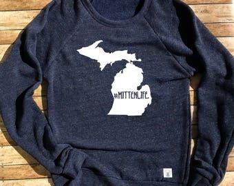 Tri-Blend Crew Neck Sweatshirt Unisex Michigan Sweatshirt Michigan Mitten MittenLife