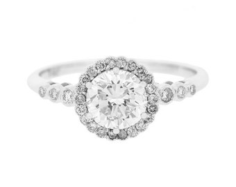 Edwardian Style 0.99 Carat Diamond Engagement Ring in 14ct White Gold (8514002)