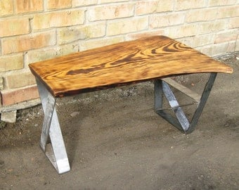 Industrial coffee table. Industrial bench. Live edge coffee table. Natural Wood Table. Live edge bench. Rustic bench. Rustic coffee table.