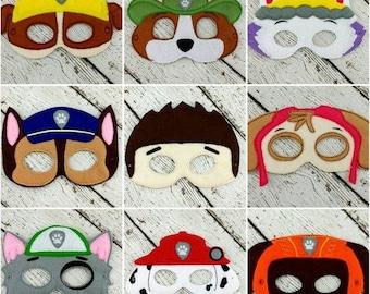 9pc Paw Patrol Mask Set - Ryder - Chase - Marshall - Skye - Rubble - Everest - Zuma - Rocky - Ranger