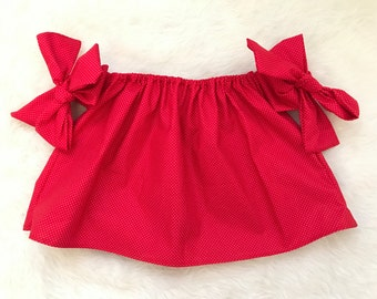 Red & tiny white polka dots arm bow crop top