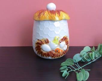 Bird & Nest Canister by Sears Roebuck Co, 1970s Ceramic Kitchen Jar, Birds Nest Jar, Retro Canister, Sugar Bowl, Honey Pot, Made in Japan