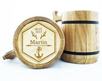 Wooden Beer Mug. Personalized Gift for Groomsman. Wedding Gift. Wood Mug. Father's day. Groom Gift. Birthday. Custom Gift. Groomsmen Mug K59