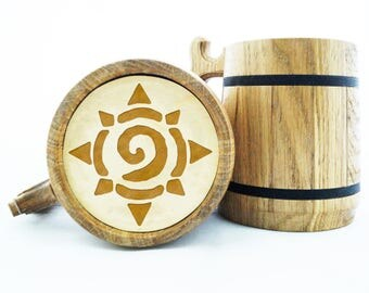 World Of Warcraft Gifts / Hearthstone Mug / WOW Gift / Wood Beer Mug / Engraved Mug / Personal Gifts for Men / Beer Tankard. Gamer Gift K65