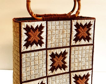 1970s Vintage Hand Made Tote Bag Cross Stitch Wooden Bamboo Handles