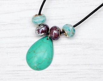 Turquoise necklace, turquoise pendant, hippie jewelry, festival jewellery