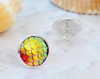 Gold mermaid earrings, dragon scales earrings, fish scale earrings. Iridescent earrings, mermaid stud earrings