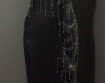 Black and Silver Beaded Party Dress with Beaded Fringe