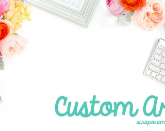 Custom digital art for invitations,  announcements and thank you cards