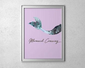 Kids Poster Mermaid Print Kids Art Prints Mermaid Decor Girls Bedroom Decor Mermaid Poster Kids Wall Art Print
