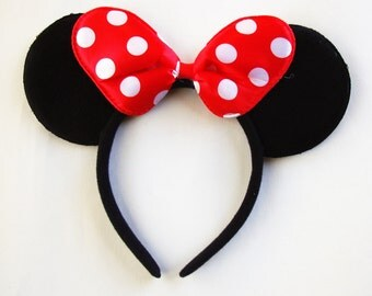 Minnie Mouse Ears- Red polka dot bow