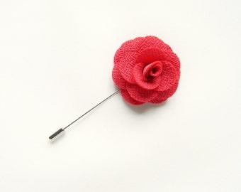 Men's pink flower lapel pin wedding Boutonniere lapel pin groomsmen