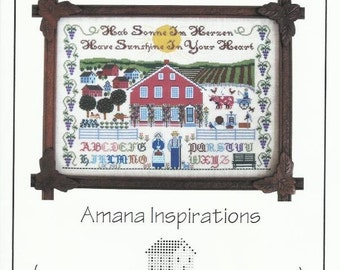 """Amish Life Amish Farm Counted Cross Stitch Pattern AMANA INSPIRATIONS from The Needle's Notion - 9.5"""" x 13.5"""" on 16/32 ct - NN190 - Folk Art"""