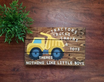 """Rustic """"Tractors, Trucks, Trains and Toys - There's Nothing Like Little Boys"""" Nursery Wall Decor"""