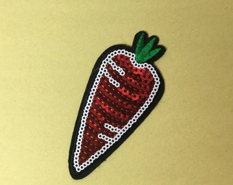 Sequin Carrot iron on patch