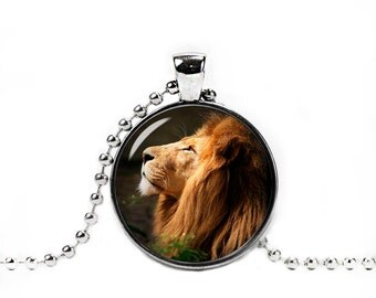 Lion Pendant Lion Necklace Lion Jewelry Photo Glass Pendant Animals Jewelry