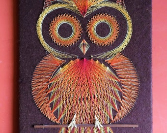 Vintage Retro Owl String Art Wall Hanging - Orange and Yellow on Brown Felt - 1970's String and Nail Art