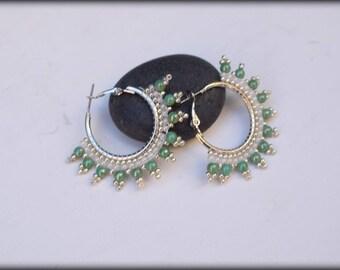 Beaded Hoop Earrings,Green Hoop Earrings,small hoops,nickel free ,gift for her,Green and white earrings,Hoop earrings,Spring Jewelry