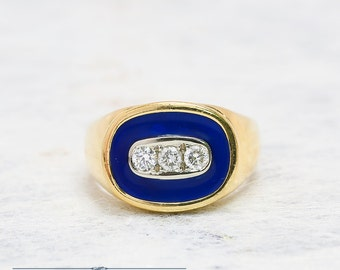 Diamond Mens Ring | Mens Signet Ring | Diamond Ring | Yellow Gold Ring | Antique Jewelry | Antique Jewellery | Antique MensWedding Ring