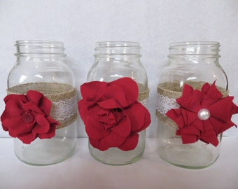 3 Quart Mason Jars- Burlap, Lace, and Blooms