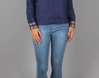 Military urban chic blouse, women blouse, blue top, linen blouse, ethical fashion, trendy blouse, spring blue blouse, bohemian touch, Bakoko