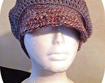 Made To Order Crochet Newsboy Hat, Brimmed Slouchy Hat