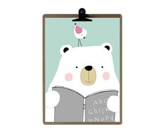 The Bear and the Bird nursery print - Green color Nursery art prints - baby nursery decor - nursery wall - Children Art - Kids Room