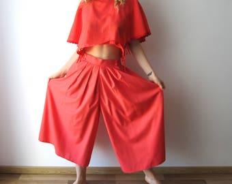 Vintage Coral Culottes Pants Wide Leg Pants Skirt Pants Midi Skirt Pants Comfortable Festival Clothing Pants Palazzo Pants Size Medium