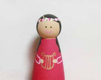St Cecilia statue / Saint peg doll / Catholic / Wooden toy