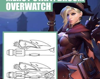 Witch Mercy - Overwatch - Weapon - Broom - Staff - Blueprint - Pattern - Vector - PDF file - Blizzard - Cosplay