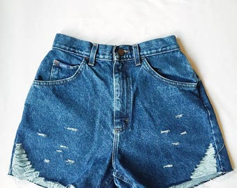 "Size 26"" Womens Vintage High Rise Denim Shorts"