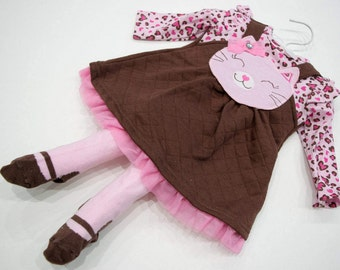 2pcs Baby Kitty Cat Pink Pinafore Dress with Cute Foot Art Tights Set