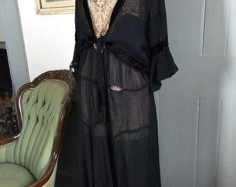1920's vintage original sheer chiffon dress with built in shawl