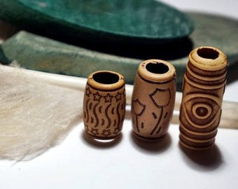 "Set dread beads dreadlocks hair jewellery wooden beads large hole bead dreadheads dreadbead dreadlocks jewellery rastabead ""Africa"""