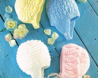 PDF Bonnets and Helmets Vintage Knitting Pattern  - INSTANT DOWNLOAD. Digitally Restored