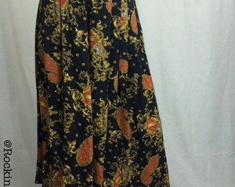 Black Gold Pleated Skirt with side pocket  and original tags  by Kasper and Company A.S.L. Size 8