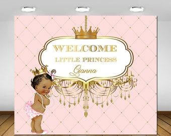 Printable, Royal, Pink and Gold, Princess Themed, Crown, Tiara, Backdrop, Birthday Party , 1st Birthday, Baby Shower, Christening ,Baptism