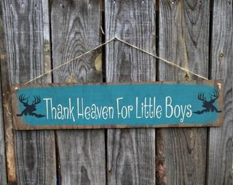 Thank Heaven For Little Boys Sign, Boys Nursery Decor, Boys Room Decor, Deer, Buck, Little Buck, Future Deer Hunter