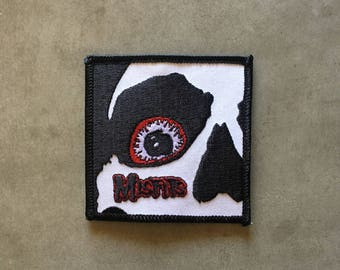 "Misfits -- skeleton face close-up -- iron-on embroidered patch (aprox. 3"" x 3"")"