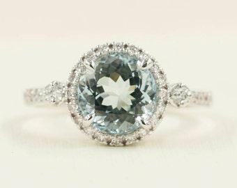 Aquamarine Engagement Ring.Aquamarine Diamond engagement ring.Solid 14K White Gold Womens.8mm AAA Aquamarine  Diamond Wedding Ring