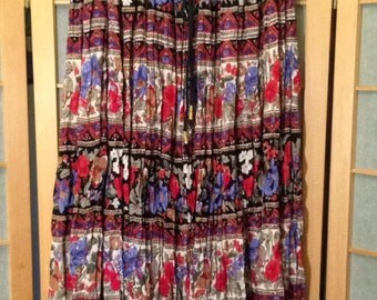 90s Indian Floral Broomstick Midi Skirt