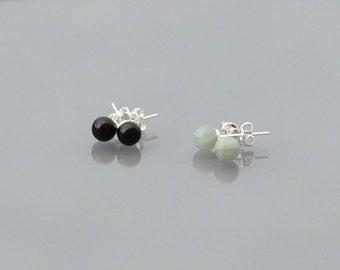 ZOUX078 ear/ear/chip to ear loops - Pierre nail natural semi precious Onyx or Aquamarine - Silver 925