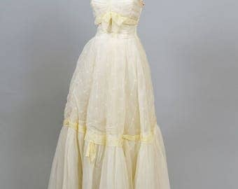 1950 Ruched Princess Vintage Wedding Gown