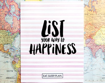 """List Your Way to Happiness - 8.5x11"""" - Motivational List Based Planner to Happiest Self - Self Improvement Planner - Happy Planning"""