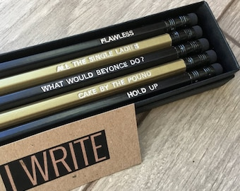 PENCILS: Boxed Set Of Music Queen Bey Pencils, Engraved Quote Pencils, Music 'Beyonce Fan' Quote Pencils! Stationery Gift Set, Small Gifts!