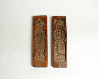 Vintage, Pair of Wooden Gingerbread, Cookie, Springerle, Speculaas  Molds, Hand Carved, Swiss