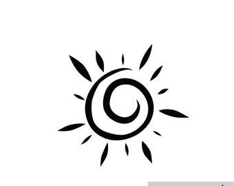 Sun Decal, Laptop Sticker, Car Decal, Ipad sticker, Nature Decals