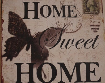 Wooden Antique Vintage Hook Home Sweet Home With Butterfly SG1252