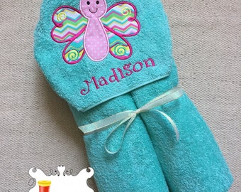 Personalized Butterfly Applique Embroidered Hooded Towel Girl