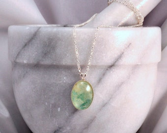 Sterling Silver Necklace- Green Aventurine Resin Necklace- Green Aventurine Jewellery- Gemstone Jewelry- Resin Jewelry- Handmade- N100